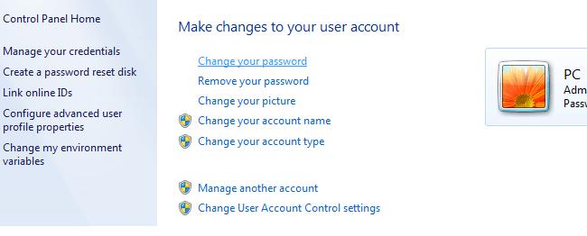 Đặt mật khẩu trên windows 7